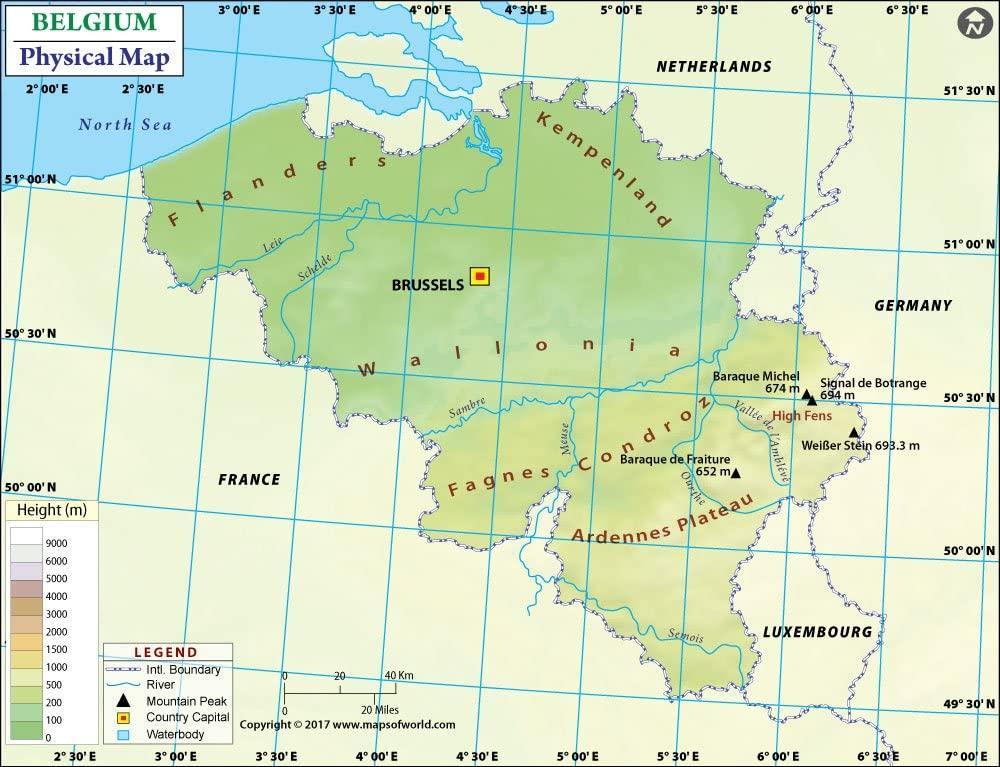 Cartina Del Belgio Da Stampare.Mappa Fisica Del Belgio Belgio Mappa Topografica Del